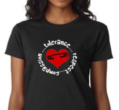 Safety Pin Shirt... Tolerance, Respect, Compassion Custom Clothes, Compassion, Respect, Blueberry, Safety, Mens Tops, T Shirt, Design, Women