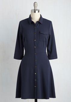 Conference Panel Panache Dress. Youre the picture of professional poise when you offer your academic expertise in this navy shirt dress! #blue #modcloth