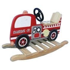 Kids-Boys-Trains-Trucks-Fire-Engine-Rocker-Wooden-Ride-On-Rocking-Toy-NEW
