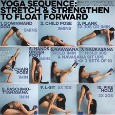 YOGA SEQUENCE: STRETCH & STRENGTHEN TO FLOAT FORWARD  1. DOWN DOG Yes a full 5mins, find ur alignment & stick with it don't let your shoulders come forward even though they feel like dying, down dog foundation is EVERYTHING 2. CHILD POSE Cause you deserve