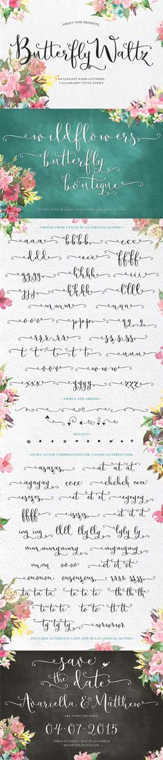 Butterfly Waltz font family by Sweet Type - modern calligraphy script for an authentic hand-lettered look. Loads of beautiful decorative alternates designed for ease of use, even in non-OpenType applications. Beautiful for invitations, envelopes, stationary, and packaging.