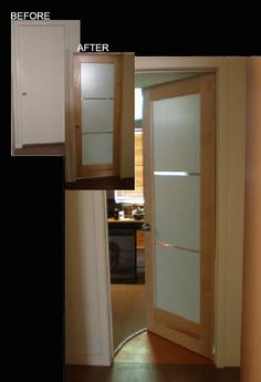 Glass-panel interior doors.   Modern tri-lite Milano interior doors, frosted glass.