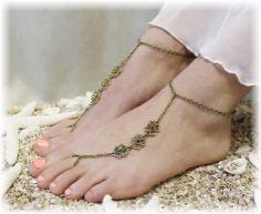LAVISH LOVE Barefoot sandals Bronze by CatherineColeStudio on Etsy, $14.00