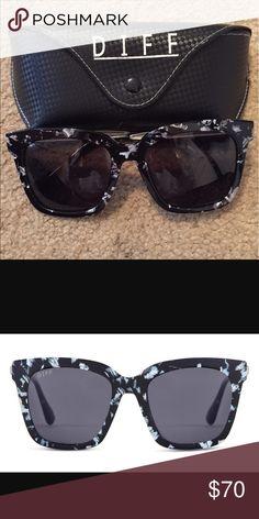 ec3fb223f7 Diff Eyewear - Bella black white frames Diff Eyewear with grey polarized  lenses.