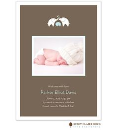 New family member; Elephants Birth Announcement Photo Card From Little Angel Announcements