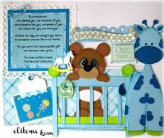 ELITE4U KAM PREMADE BABY BOY TEAR BEAR PAPER PIECING MAT SET FOR KIT PAGE ALBUM  http://cameron17.SkinnyFiberPlus.com/?SOURCE=pinned