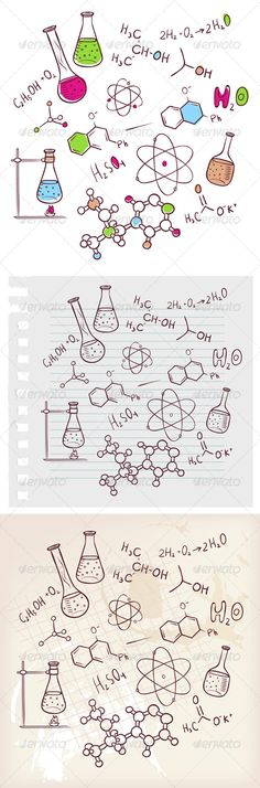 Hand Draw Chemistry Background #GraphicRiver Vector illustration of…