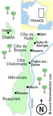 A map of the wine regions of Burgundy ---> I wish I know more about Burgundy region