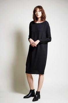 Black Crane Slim Dress in Black