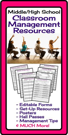 Effective classroom management is one of the biggest challenges for many middle and high school teachers. This resource has everything a teacher needs to set up effective routines, maintain accurate record keeping, and set up a positive classroom atmosphere.