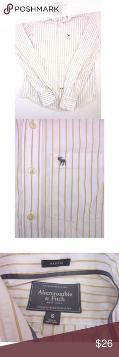 """Abercrombie & Fitch Button Down Muscle Shirt Size Item: Abercrombie & Fitch Muscle button down shirt.  Size: S  Size Type: Regular  Material: 100% Cotton.  Measurements: Armpit to armpit is 20"""" across when flat. Shoulder to hem is 27"""".  Condition: Excellent used condition. No holes or stains.  Details: White and yellow striped button down muscle shirt by Abercrombie & Fitch.  wt3202 Abercrombie & Fitch Shirts Casual Button Down Shirts"""