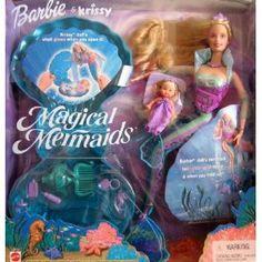 Magical Mermaids BARBIE & KRISSY Dolls Set - Barbie Doll w Light-Up Tail & Krissy Doll w Glowing Shell (2000)