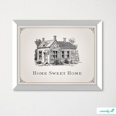Home Sweet Home Sign Art Print / Housewarming Gift / Modern House Art / Choice of color. $18.00, via Etsy.