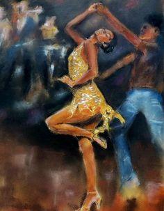 salsa dancer in yellow dress Print of original by SeleguaCustomArt, $20.00