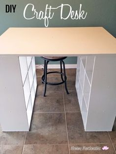 DIY Craft Table How To Make a Craft Desk with Cubicles Craft diy craft storage table - Diy Craft Table Craft Tables With Storage, Craft Room Storage, Table Storage, Craft Organization, Storage Ideas, Craft Room Tables, Ikea Storage, Organizing Ideas, Storage Cubes