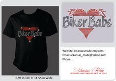 Biker Babe heart and flames rhinestone custom shirt, biker girl shirt, biker chick, biker babe, motorcycle shirts - pinned by pin4etsy.com