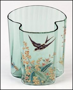 MOSER ENAMELED AND GILT GLASS LETTER VASE BEARING FLORAL DECORATION WITH A FLYING BIRD AND BEE