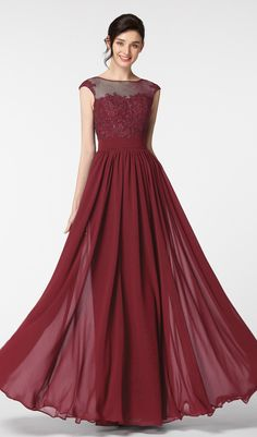 Illusion burgundy prom dresses long modest lace prom gown