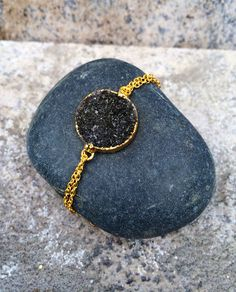 TWINKLE // Natural Black Druzy Bracelet in 24k by ShopParadigm, $68.00