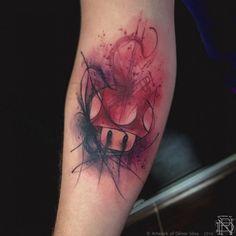 Mario mushroom tattoo watercolor