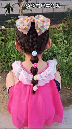 Easy Toddler Hairstyles, Cute Little Girl Hairstyles, Baby Girl Hairstyles, Braided Hairstyles, Girl Hair Dos, Short Hair Styles Easy, Braids For Kids, Hair Videos, Short Grunge Hair