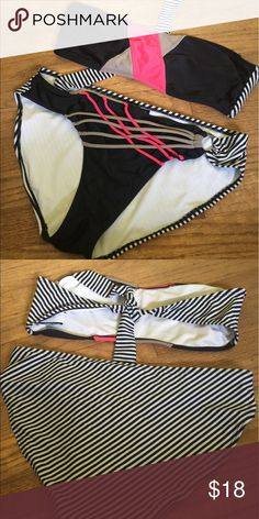 Black Bikini w/ Coral and White Strips #A58C_10 Love this swimsuit but it's just too big.  The top ties so it can fit almost any size (one shoulder strap strap available) Bottoms are L/Top is XL but again it ties.  I was a Large (36D). Swim Bikinis