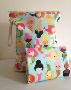 Set Wet Bag and Changing Mat Mermaid Friends or by LilTotWonder, $38.00