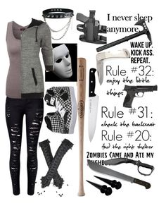 """Silent Killer // The walking dead"" by little-monster-04 ❤ liked on Polyvore featuring J.A. Henckels, Louisville Slugger, WithChic, WALL, Osiris, Smith & Wesson and Doublju"