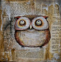 owl (collage) by Maria Herz. Love this! reminds me of a style I've done before