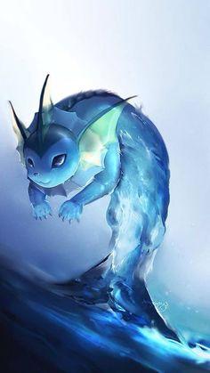 More Pokepainting: Vaporeon Pokemon? *What is this doing on my Animals board… ; Pokemon Go, Carte Pokemon Ex, Cute Pokemon, Pokemon Eeveelutions, Eevee Evolutions, Fanarts Anime, Animation, Wow Art, Pokemon Pictures