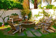 stucco walls, outdoor gathering space with firepit,