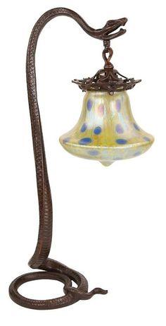 Art Nouveau bronze snake lamp with Loetz shade