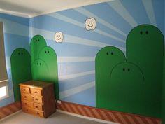 Your kids will have a Mario mural :-) Bedroom Murals, Bedroom Themes, Kids Bedroom, Super Mario Room, Nintendo Room, Toy Rooms, Kids Rooms, Super Mario Brothers, Mario Bros.