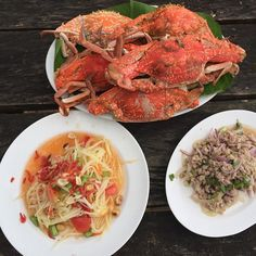 Fresh crab, som tam thai, and laarb moo in Koh Mak Thai Dishes, Thai Recipes, Lemon Grass, Seafood, Spicy, Spaghetti, Curry, Fresh, Lifestyle Blog