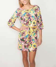 Another great find on #zulily! Pink & Mustard Floral Three-Quarter Sleeve Dress #zulilyfinds