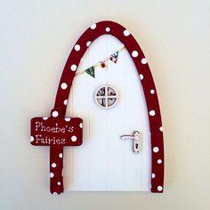 Personalised Fairy Door - Red and White Toadstool Fairy Door - Magical Elf Door, Miniature Wooden Door with Bunting, Woodland Fairy Inspired