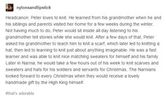 awww, that's adorable! Peter knits :D All credits to the amazing nylonsandlipstick on tumblr. If you ever read this, know that you're awesome. Keep going! Chronicles Of Narnia Books, Narnia 3, Courage Dear Heart, Heavy Breathing, Cs Lewis, Book Fandoms, Luftwaffe, You're Awesome, Tolkien