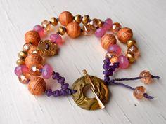 handmade bracelet, colourful bracelet, pink bracelet, gold bracelet, pink jewellery, bollywood inspired jewelry-SONGBEADS