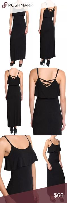 💥 SALE Cross Back Overlay Jersey Maxi Dress Black Super soft, ultra luxe stretch rayon jersey fabric, a trendy, stylish lattice back, adjustable spaghetti strap tank top style, and a cute, flirty overlay make this maxi dress the perfect day to night, chic piece. Versatile enough to wear with sandals or heels. Wonderfully soft, high quality figure flattering fabric.  ❌ Sorry, no trades.  305937  vintage bodycon body conscious bandage paisley  fairlygirly fairlygirly Dresses Maxi