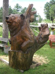 Wood carvings and tree sculptures by Jim Menken of Orangeville Ontario. See bears and more of his portfolio here. Tree Sculpture, Sculptures, Lion Sculpture, Chainsaw Wood Carving, Wood Carvings, Festivals In August, Fun Places To Go, Animal Statues, Canoe