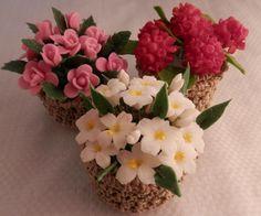 Cesta de flores porcelana