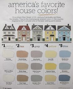 Most popular exterior house colors.