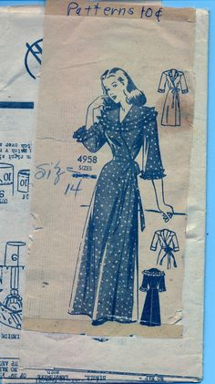 I like the ruffle. Vintage 1950's Women's Robe Pattern Anne by AtomicRegeneration, $5.95