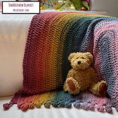 Ravelry: OmbRainbow Blanket pattern by Melanie Poulter Modern Crochet Patterns, Crochet Blanket Patterns, Stitch Patterns, Crochet Blankets, Rainbow Crochet, Bobble Stitch, Photo Tutorial, Rainbow Colors, Strands