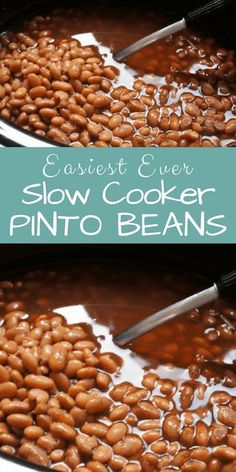These pinto beans couldn't be easier to make in a slow cooker. Any that you don't use within a few days can be stored in a container or resealable bag and kept in the freezer. To turn whole pintos into a healthy version of refried beans, saute a li Slow Cooker Beans, Crock Pot Slow Cooker, Crock Pot Cooking, Slow Cooker Recipes, Crockpot Recipes, Cooking Recipes, Cook Beans In Crockpot, Recipe For Beans In Crock Pot, Potluck Recipes