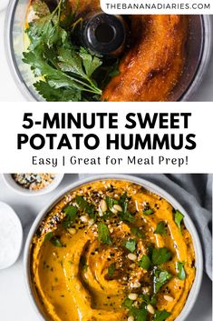 This healthy sweet potato hummus is a twist on the classic version! Creamy slightly sweet and absolutely spoon-worthy you won't be able to stop with this easy dip! Completely dairy free vegan Paleo and friendly it's the perfect spread topping or dip! Sweet Potato Hummus, Sweet Potato Waffles, Paleo Sweet Potato, Roasted Sweet Potatoes, Sweet Potato Meals, Healthy Potato Recipes, Vegan Dinner Recipes, Vegan Dinners, Vegetarian Recipes