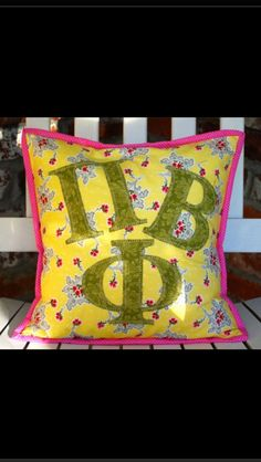 Darling bright & cheery sorority pillow! Get it with the letters of your choice! www.SimplePassions.com