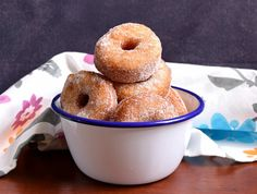 Delicious, airy and light eggless Donuts. I fried the donut holes too. Flavoured with cinnamon and sugar, it is a perfect snack for kids. You can even pack it for their snack box as s sweet treat. Serve Eggless Cinnamon Sugar Donuts with a cup of hot coffee during tea time break. If you like this recipe, you can also try other similar recipes such as  Homemade Baked Donuts Recipe French Crullers Recipe