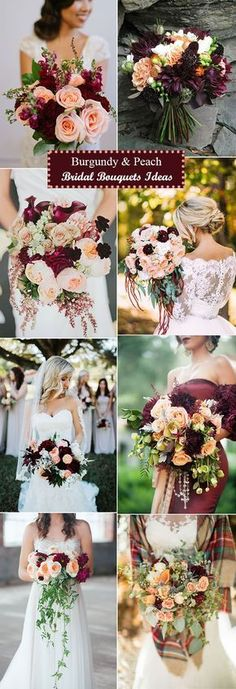 gorgeous burgundy and peach bridal bouquets ideas