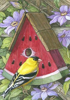 Toland Home Garden Watermelon Birdhouse 28 x 40-Inch Decorative USA-Produced House Flag